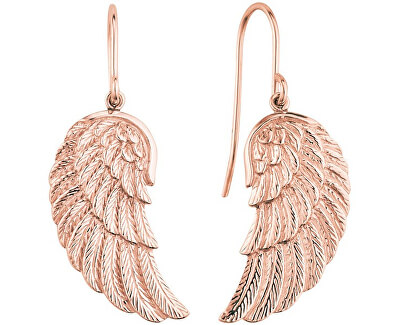 Růžově zlacené stříbrné náušnice Andělské křídlo ERE-WING-R