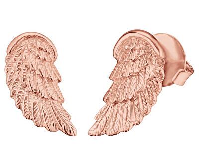Růžově zlacené stříbrné náušnice Andělské křídlo ERE-WING-STR