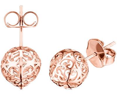 Růžově zlacené stříbrné náušnice Andělské zvonky ERE-ER1-STR