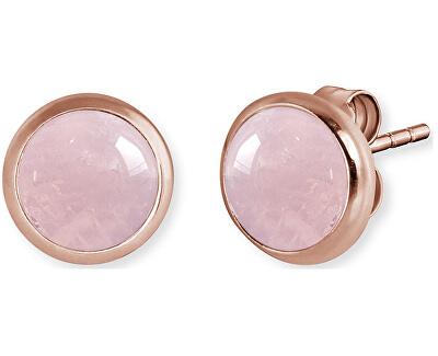 Růžově zlacené stříbrné náušnice s růženínem ERE-RQ-STR