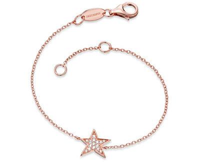 Růžově zlacený stříbrný náramek Hvězda se zirkony ERB-LILSTAR-ZIR