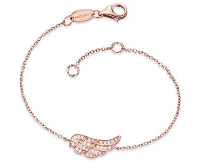 Růžově zlacený stříbrný náramek Křídlo se zirkony ERB-LILWING-ZIR