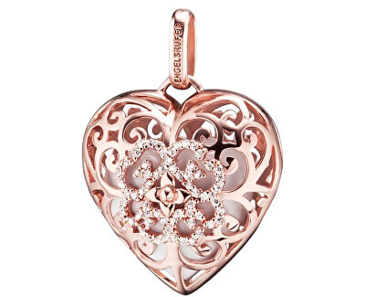 Růžově zlacený stříbrný přívěsek Andělský zvonek srdce s bílou rolničkou a zirkony ERP-01-HEART-ZR
