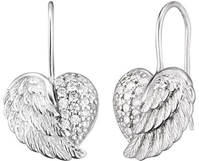 Stříbrné náušnice Srdce s andělským křídlem a zirkony ERE-HEARTWING-Z