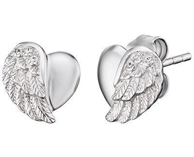 Stříbrné náušnice Srdce s andělským křídlem a zirkony ERE-LILHW-ST