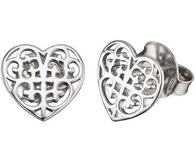 Stříbrné náušnice Srdce s ornamentem ERE-ORNAHEART-S