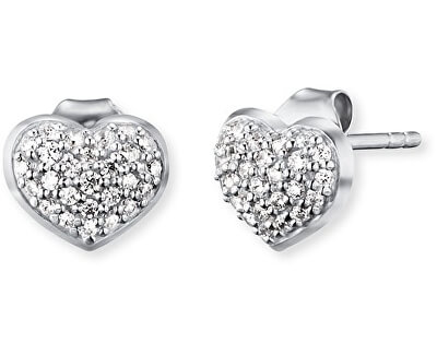 Stříbrné náušnice Srdce se zirkony ERE-HEART-ZI-ST