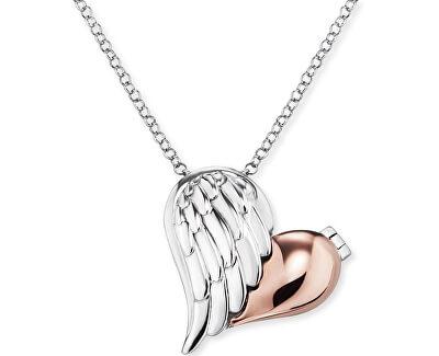 Stříbrný bicolor náhrdelník Medailonek srdce s křídlem ERN-WITHLOVE-2B