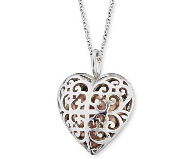 Stříbrný náhrdelník Andělský zvonek růžové srdce ERN-16-HEART-S