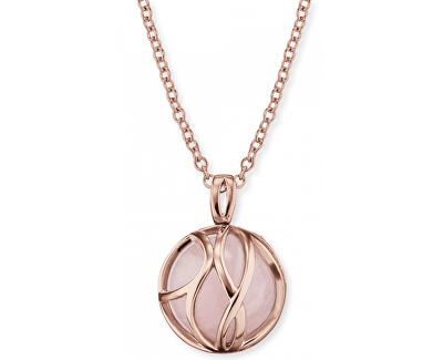 Růžově zlacený stříbrný náhrdelník Andělský zvonek s růženínem ERN-LILPAR-RQ-R