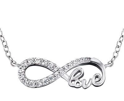 Stříbrný náhrdelník Infinity se zirkony ERN-LILINF-LOVE