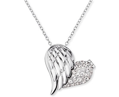 Stříbrný náhrdelník Medailonek srdce s křídlem a zirkony ERN-WITHLOVE-2Z