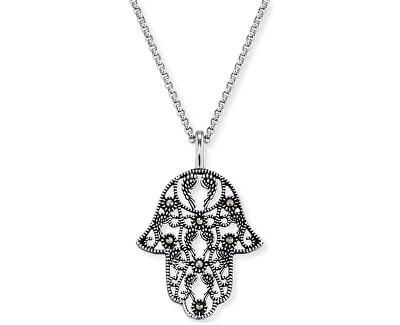 Stříbrný náhrdelník Ruka Fatimy s markazity ERN-LILHAND-MA