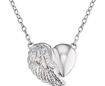 Stříbrný náhrdelník Srdce s křídlem a zirkony ERN-LILHEARTWIN