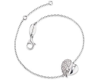 Stříbrný náramek Srdce s andělským křídlem a zirkony ERB-LILHEARTWIN