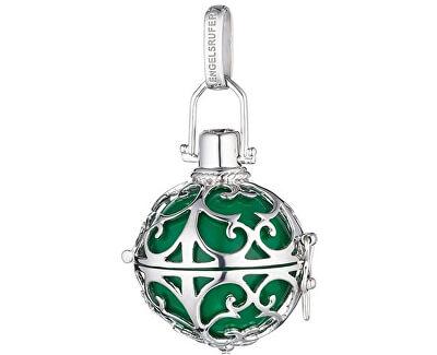 Stříbrný přívěsek Andělský zvonek se zelenou rolničkou ER-03