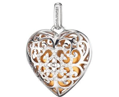Stříbrný přívěsek Andělský zvonek srdce se zlatou rolničkou a zirkony ERP-09-HEART-Z