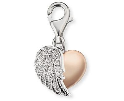 Stříbrný bicolor přívěsek na náramek Srdce s křídlem ERC-HEARTWINGBI