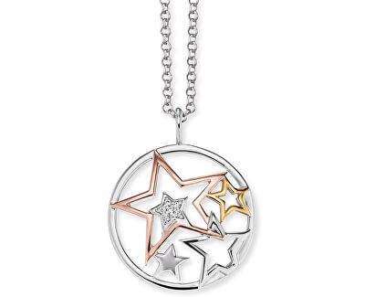 Stříbrný tricolor náhrdelník Hvězdy se zirkony ERN-STARS-TRI-Z