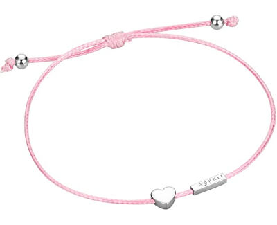 Roz brățară cu cordon cu inima mini ESBR00711621
