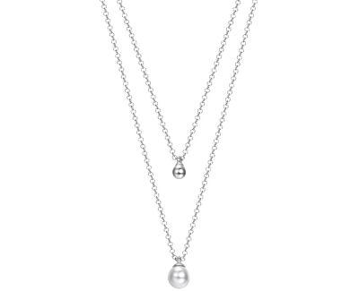 Vrstvený strieborný náhrdelník s perličkou ESPRIT-JW52906
