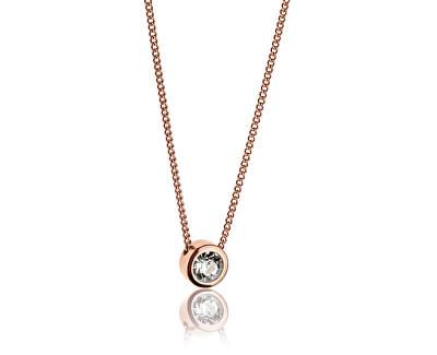 Růžově pozlacený náhrdelník s krystalem WN1010R