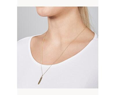 Pozlátený oceľový náhrdelník s pierkom JF03381710