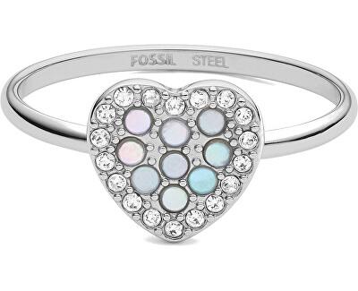 Romantický prsteň z trblietavým srdiečkom JF03412040