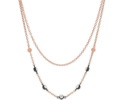 Fossil Bronzový náhrdelník s kryštálmi JF02590998