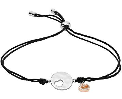 Čierny nylonový náramok so striebornými srdiečkami JFS00495998