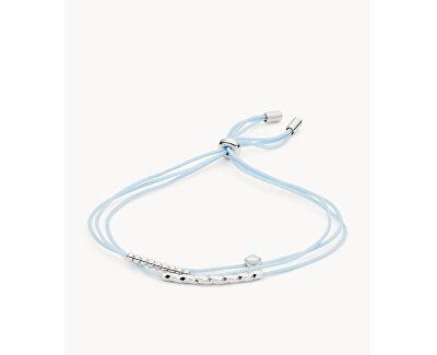 Svetlo modrý nylonový náramok so striebornými ozdobami JFS00505040