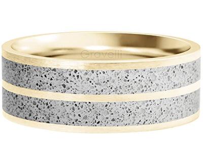 Betonový prsten Fusion Double line zlatá/šedá GJRWYGG112