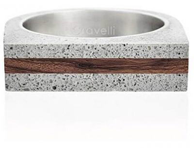Betonový prsten šedý Stamp Wood GJRUWOG003