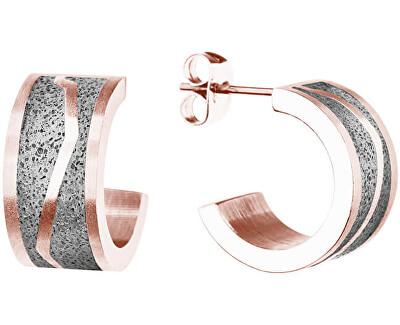 Kruhové ocelové náušnice s betonem Split GJEWRGG102UN
