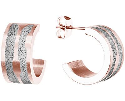 Kruhové ocelové náušnice s betonem Split GJEWRGG104UN