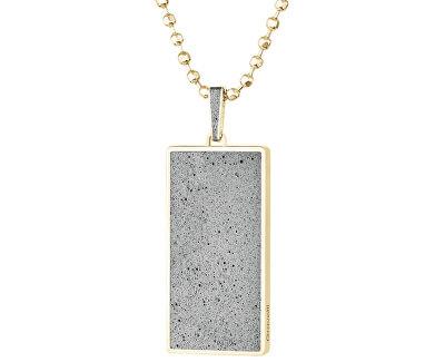 Náhrdelník s betonovým přívěskem a kuličkovým řetízkem Fusion zlatá/šedá GJPMYGG101UN