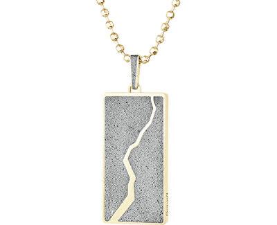 Náhrdelník s betonovým přívěskem a kuličkovým řetízkem Split zlatá/šedá GJPMYGG102UN
