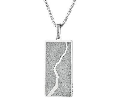 Náhrdelník s betonovým přívěskem a tradičním řetízkem Split ocelová/šedá GJPMSSG102UN