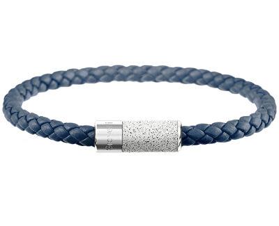 Námořnicky modrý kožený náramek s betonovou ozdobou Unity ocelová/šedá GJBUSLG141NB
