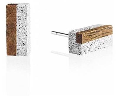 Náušnice z betonu a dřeva Block Wood GJEWWOG004UN