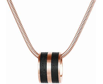 Ocelový náhrdelník s betonovým přívěskem a hádkovým řetízkem bronzová/antracitová Fusion GJPWRGA101SCH