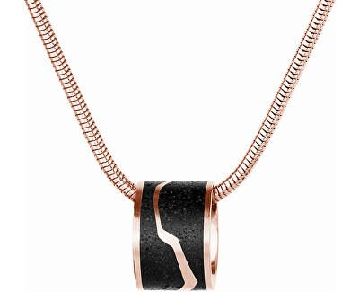 Ocelový náhrdelník s betonovým přívěskem a hádkovým řetízkem bronzová/antracitová Split
