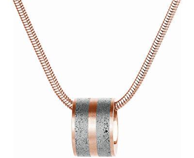 Ocelový náhrdelník s betonovým přívěskem a hádkovým řetízkem bronzová/šedá Fusion GJPWRGG101SCH
