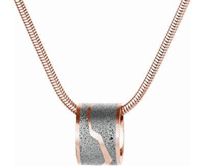 Ocelový náhrdelník s betonovým přívěskem a hádkovým řetízkem bronzová/šedá Split
