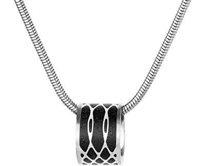 Ocelový náhrdelník s betonovým přívěskem a hádkovým řetízkem Merge ocelová/antracitová