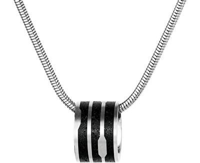 Ocelový náhrdelník s betonovým přívěskem a hádkovým řetízkem ocelová/antracitová Flow GJPWSSA104SCH