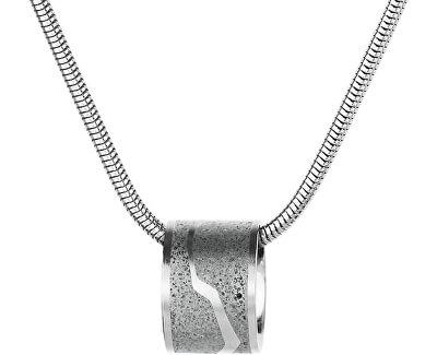 Ocelový náhrdelník s betonovým přívěskem a hádkovým řetízkem ocelová/šedá Split