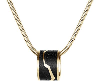 Ocelový náhrdelník s betonovým přívěskem a hádkovým řetízkem zlatá/antracitová Split