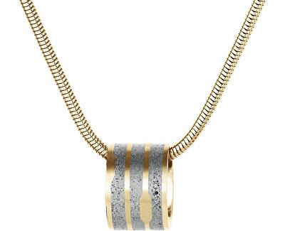 Ocelový náhrdelník s betonovým přívěskem a hádkovým řetízkem zlatá/šedá Flow