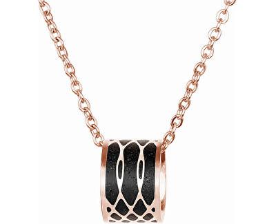 Ocelový náhrdelník s betonovým přívěskem a jemným řetízkem Merge bronzová/antracitová
